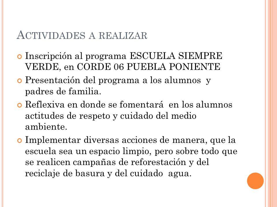 Inscripción al programa ESCUELA SIEMPRE VERDE, en CORDE 06 PUEBLA PONIENTE Presentación del programa a los alumnos y padres de familia. Reflexiva en d