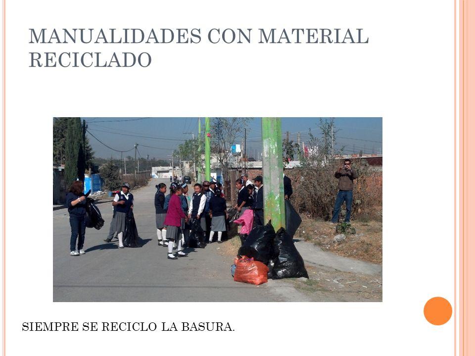 MANUALIDADES CON MATERIAL RECICLADO SIEMPRE SE RECICLO LA BASURA.