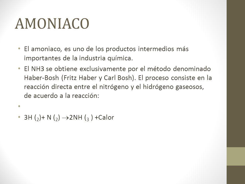 AMONIACO El amoniaco, es uno de los productos intermedios más importantes de la industria química. El NH3 se obtiene exclusivamente por el método deno