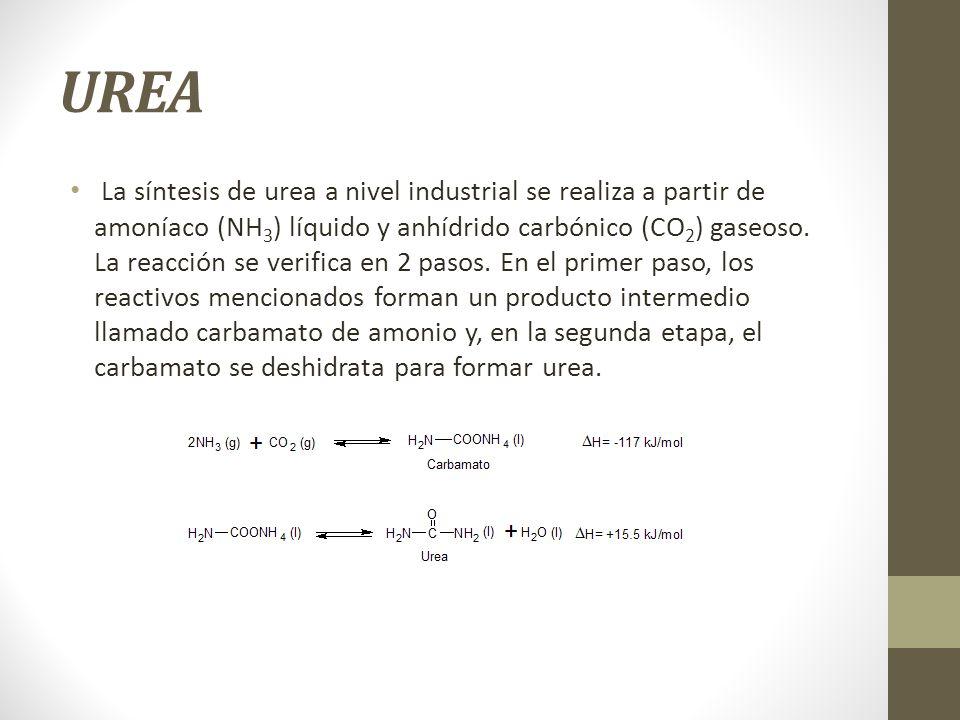 UREA La síntesis de urea a nivel industrial se realiza a partir de amoníaco (NH 3 ) líquido y anhídrido carbónico (CO 2 ) gaseoso. La reacción se veri