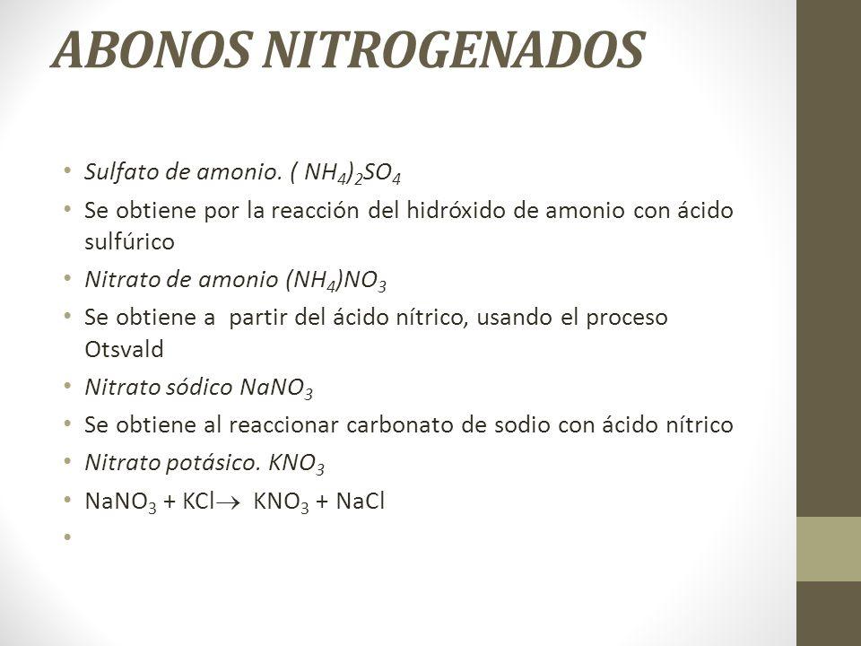 ABONOS NITROGENADOS Sulfato de amonio. ( NH 4 ) 2 SO 4 Se obtiene por la reacción del hidróxido de amonio con ácido sulfúrico Nitrato de amonio (NH 4