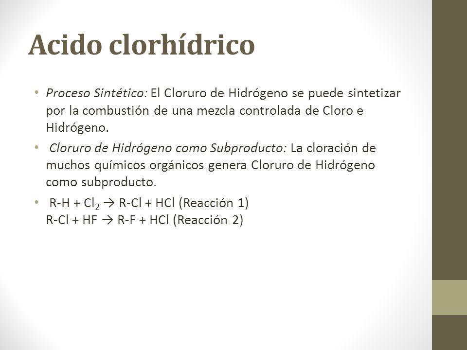 Acido clorhídrico Proceso Sintético: El Cloruro de Hidrógeno se puede sintetizar por la combustión de una mezcla controlada de Cloro e Hidrógeno. Clor