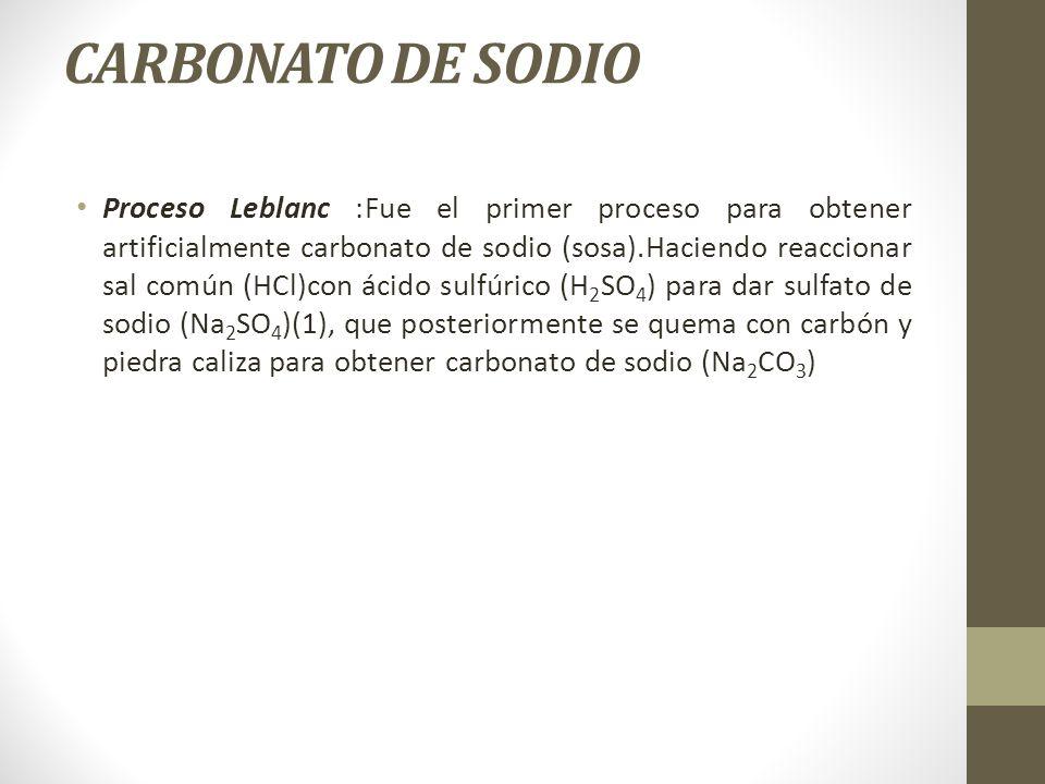 CARBONATO DE SODIO Proceso Leblanc :Fue el primer proceso para obtener artificialmente carbonato de sodio (sosa).Haciendo reaccionar sal común (HCl)co