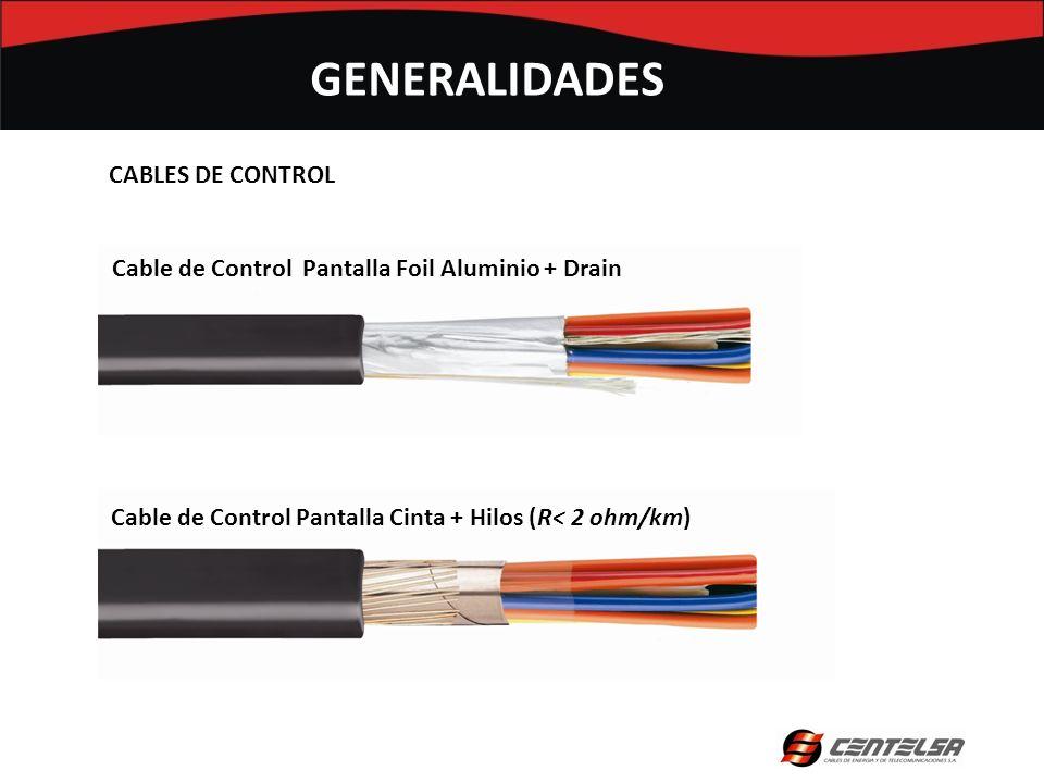 Cable de Control Pantalla Foil Aluminio + Drain Cable de Control Pantalla Cinta + Hilos (R< 2 ohm/km) GENERALIDADES CABLES DE CONTROL