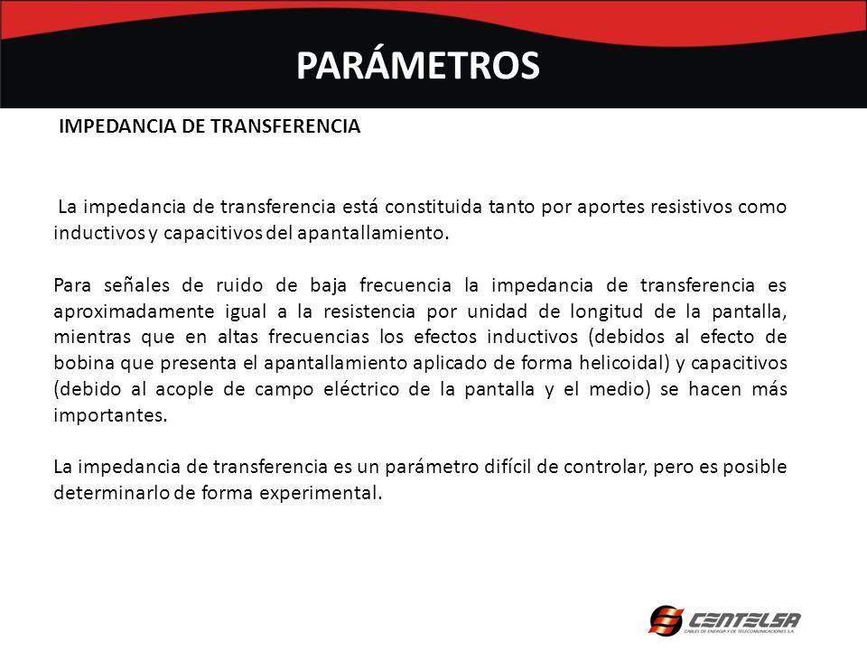 La impedancia de transferencia está constituida tanto por aportes resistivos como inductivos y capacitivos del apantallamiento. Para señales de ruido