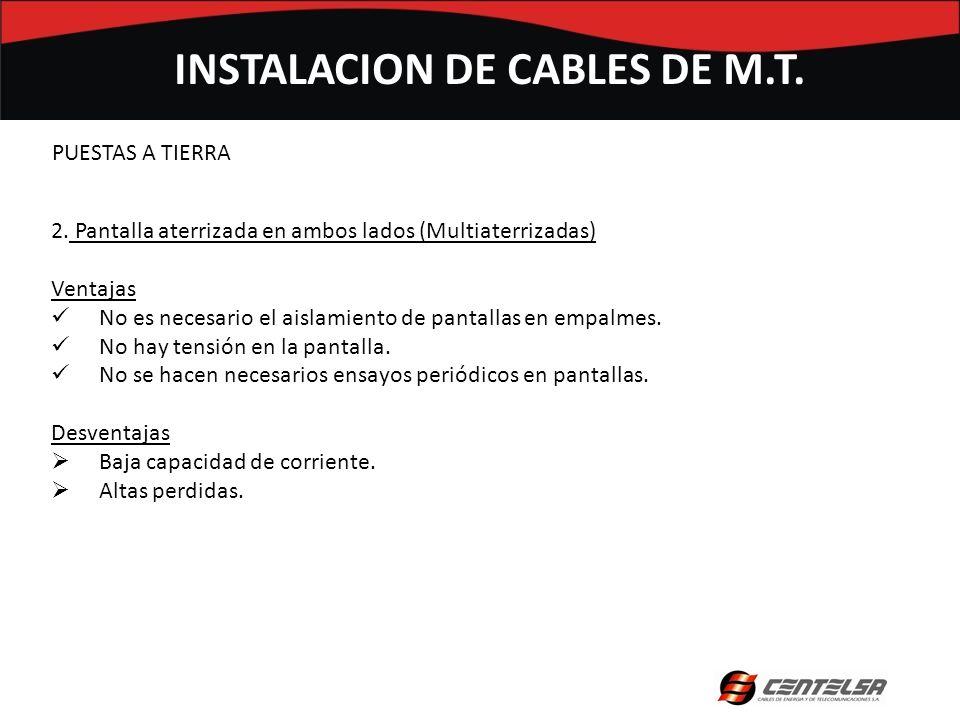 INSTALACION DE CABLES DE M.T. 2. Pantalla aterrizada en ambos lados (Multiaterrizadas) Ventajas No es necesario el aislamiento de pantallas en empalme