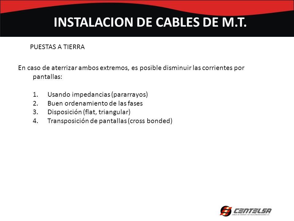 PUESTAS A TIERRA INSTALACION DE CABLES DE M.T. En caso de aterrizar ambos extremos, es posible disminuir las corrientes por pantallas: 1.Usando impeda