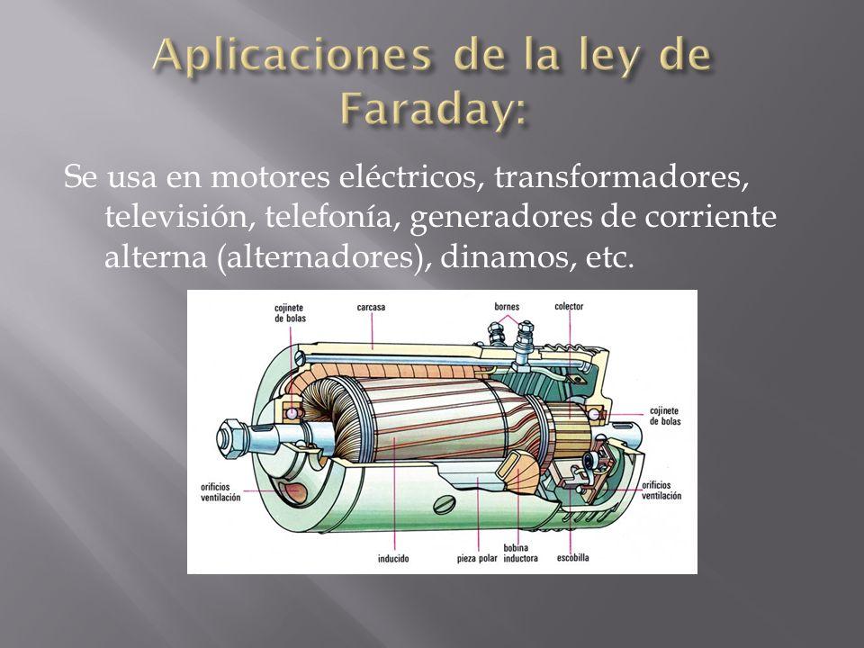 Se usa en motores eléctricos, transformadores, televisión, telefonía, generadores de corriente alterna (alternadores), dinamos, etc.