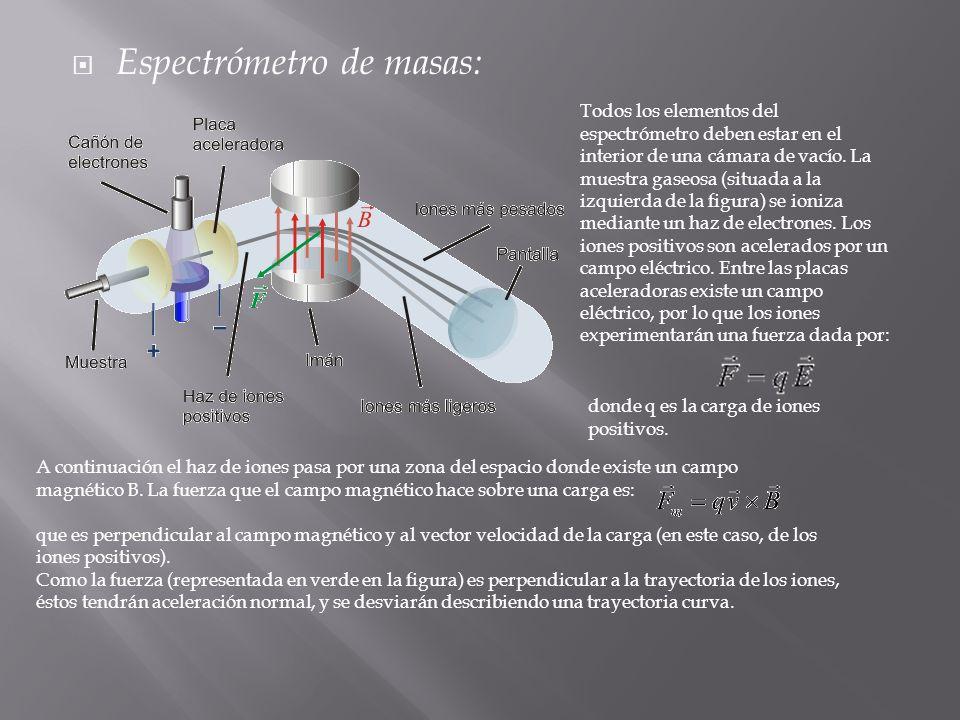Espectrómetro de masas: Todos los elementos del espectrómetro deben estar en el interior de una cámara de vacío. La muestra gaseosa (situada a la izqu