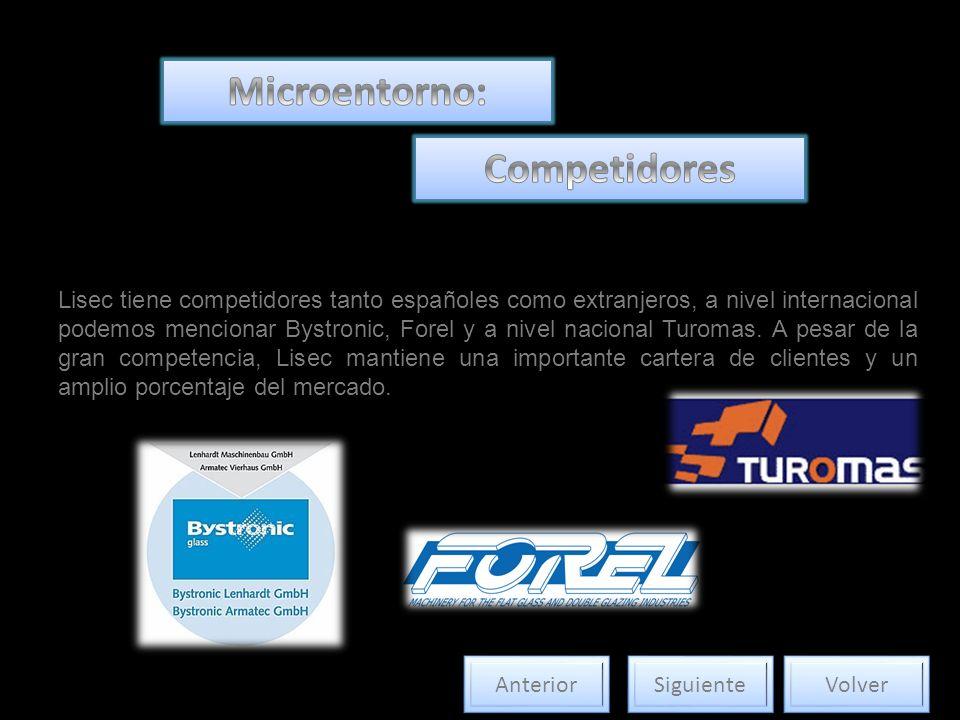Lisec tiene competidores tanto españoles como extranjeros, a nivel internacional podemos mencionar Bystronic, Forel y a nivel nacional Turomas.