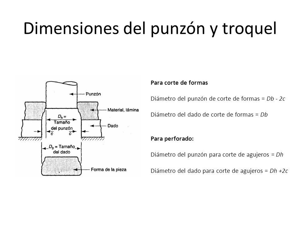 Dimensiones del punzón y troquel Para corte de formas Diámetro del punzón de corte de formas = Db - 2c Diámetro del dado de corte de formas = Db Para