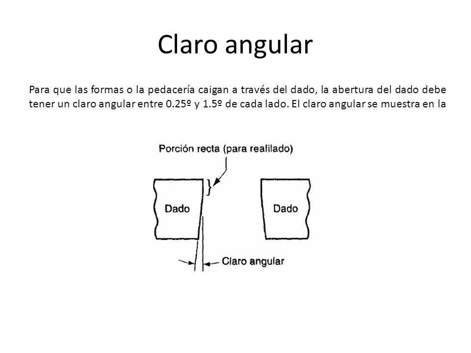 Claro angular Para que las formas o la pedacería caigan a través del dado, la abertura del dado debe tener un claro angular entre 0.25º y 1.5º de cada