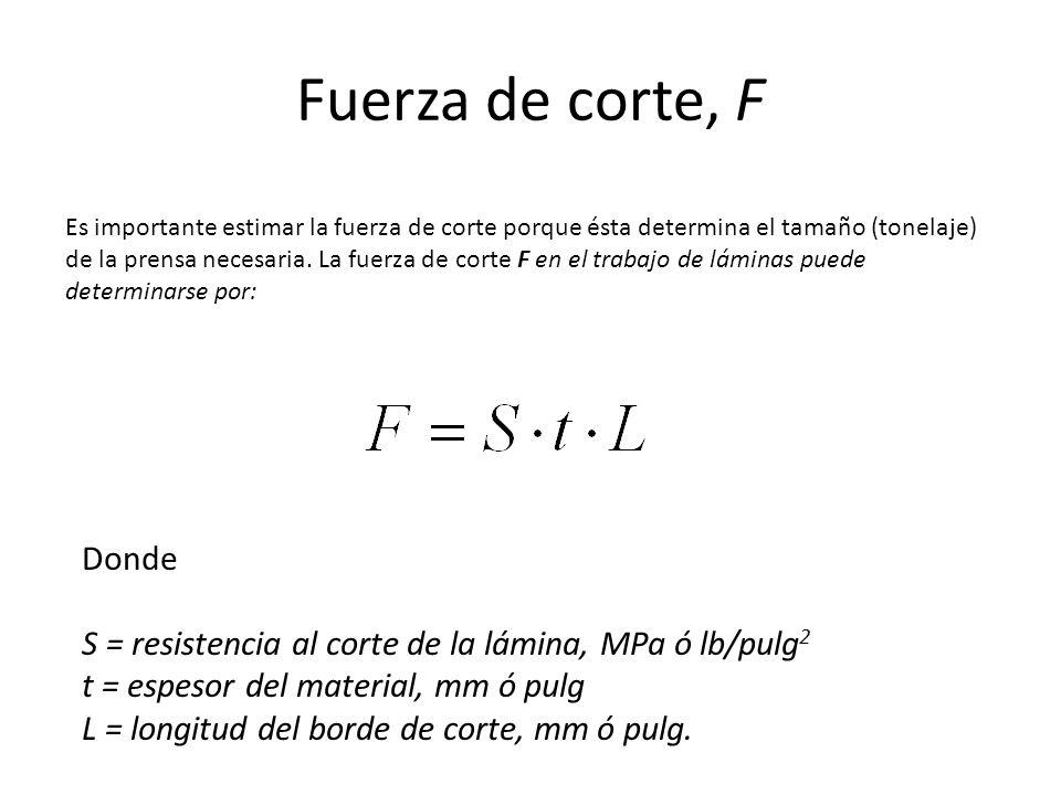 Fuerza de corte, F Es importante estimar la fuerza de corte porque ésta determina el tamaño (tonelaje) de la prensa necesaria. La fuerza de corte F en