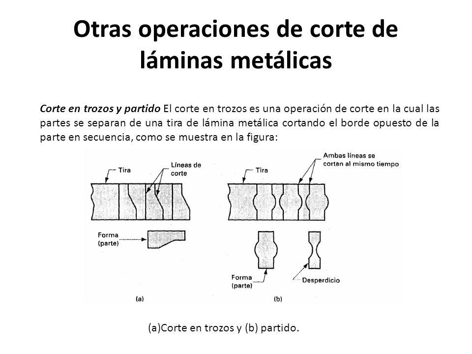 Otras operaciones de corte de láminas metálicas Corte en trozos y partido El corte en trozos es una operación de corte en la cual las partes se separa