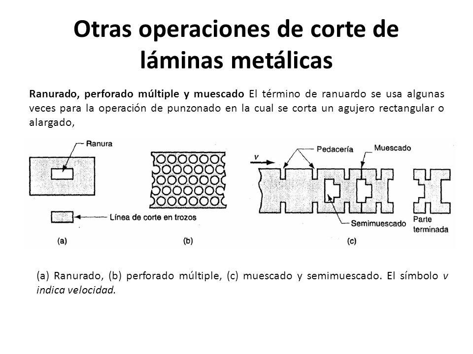 Otras operaciones de corte de láminas metálicas Ranurado, perforado múltiple y muescado El término de ranuardo se usa algunas veces para la operación