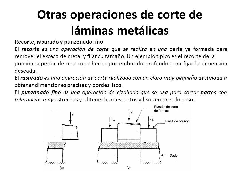 Otras operaciones de corte de láminas metálicas Recorte, rasurado y punzonado fino El recorte es una operación de corte que se realiza en una parte ya