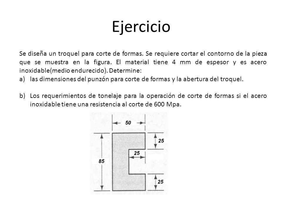 Ejercicio Se diseña un troquel para corte de formas. Se requiere cortar el contorno de la pieza que se muestra en la figura. El material tiene 4 mm de