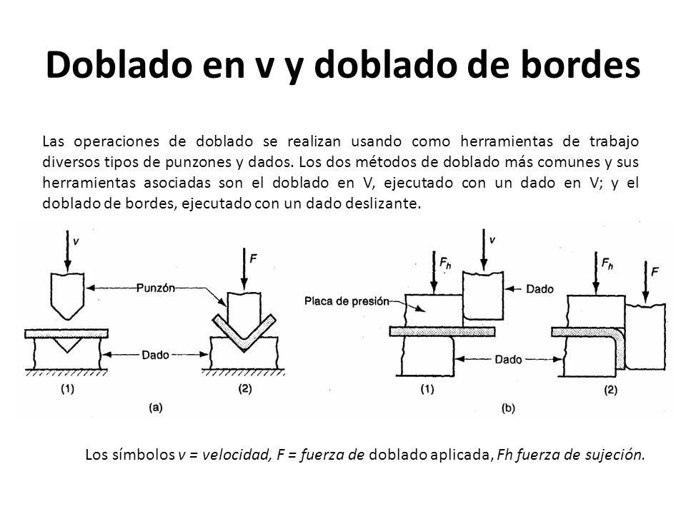 Doblado en v y doblado de bordes Las operaciones de doblado se realizan usando como herramientas de trabajo diversos tipos de punzones y dados. Los do
