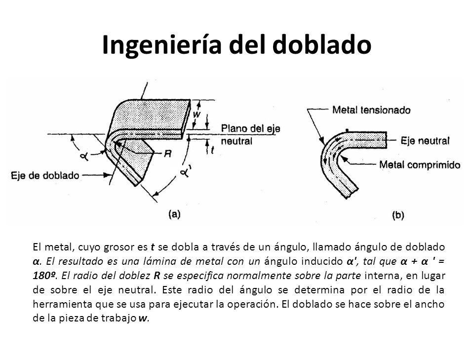 Ingeniería del doblado El metal, cuyo grosor es t se dobla a través de un ángulo, llamado ángulo de doblado α. El resultado es una lámina de metal con