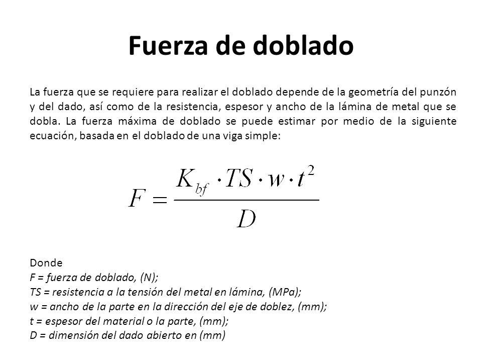 Fuerza de doblado La fuerza que se requiere para realizar el doblado depende de la geometría del punzón y del dado, así como de la resistencia, espeso