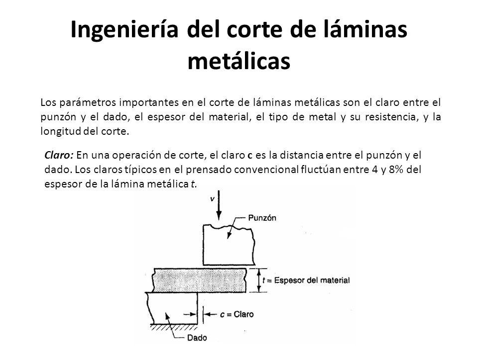 Ingeniería del corte de láminas metálicas Los parámetros importantes en el corte de láminas metálicas son el claro entre el punzón y el dado, el espes