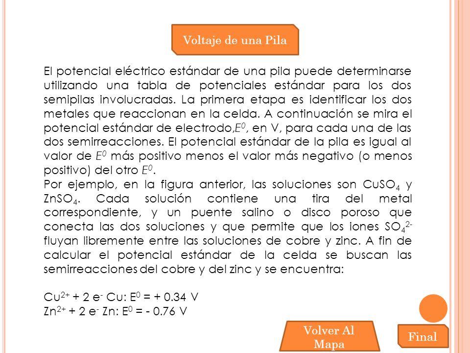 Voltaje de una Pila El potencial eléctrico estándar de una pila puede determinarse utilizando una tabla de potenciales estándar para los dos semipilas