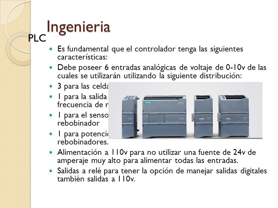Ingenieria Es fundamental que el controlador tenga las siguientes características: Debe poseer 6 entradas analógicas de voltaje de 0-10v de las cuales