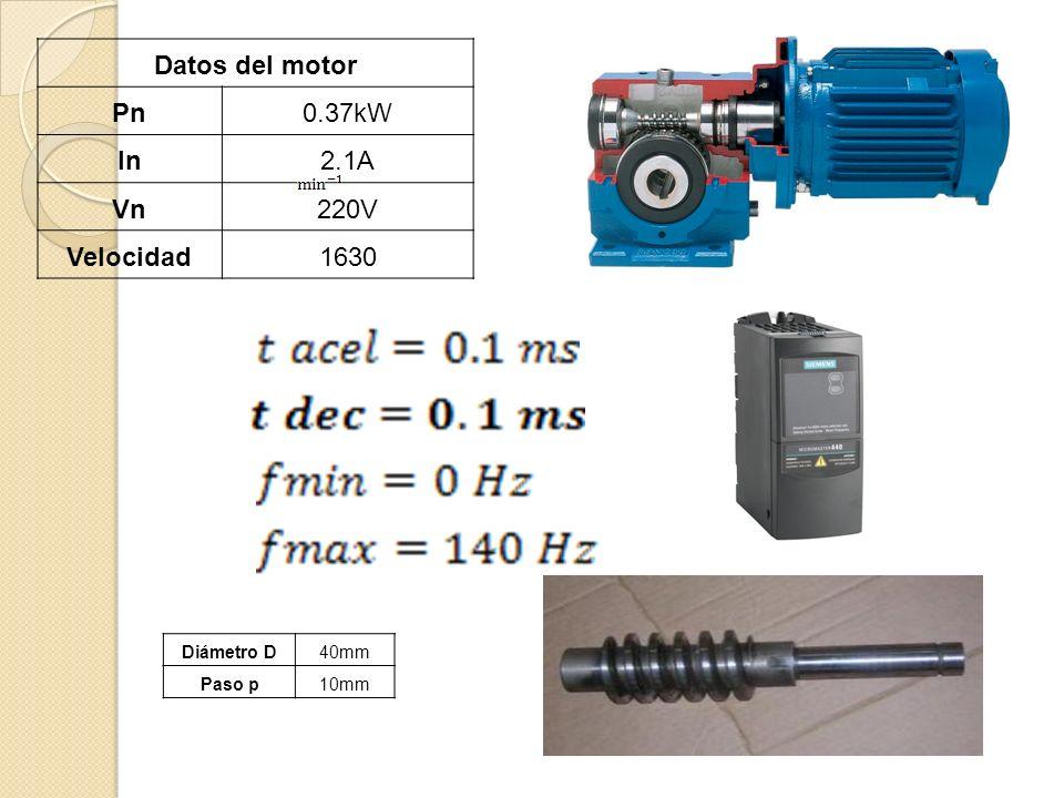 Datos del motor Pn0.37kW In2.1A Vn220V Velocidad1630 Diámetro D40mm Paso p10mm