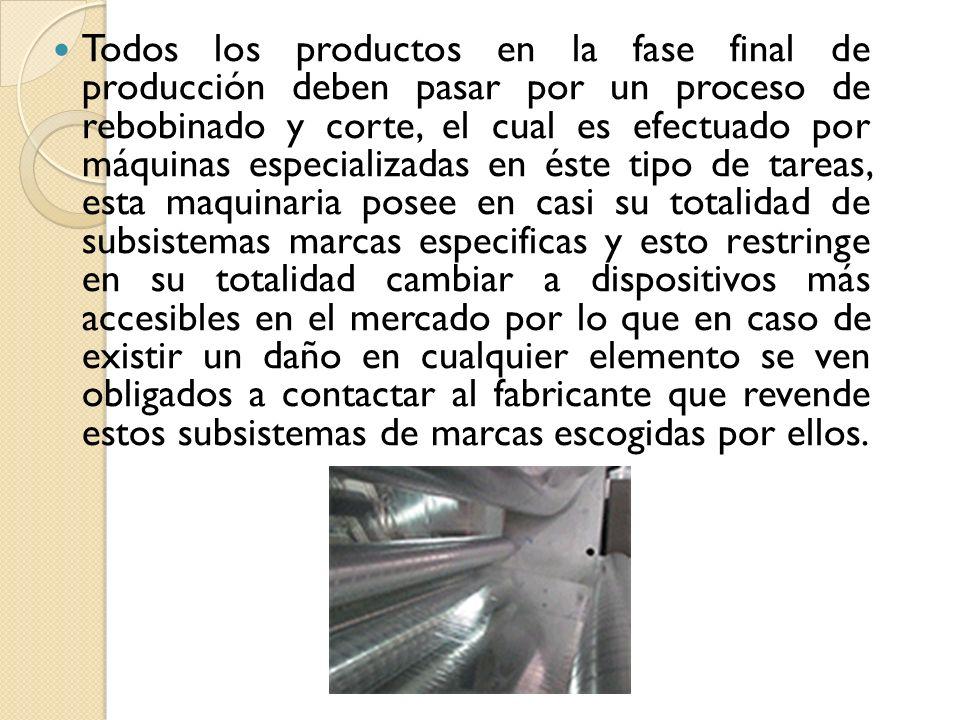Todos los productos en la fase final de producción deben pasar por un proceso de rebobinado y corte, el cual es efectuado por máquinas especializadas