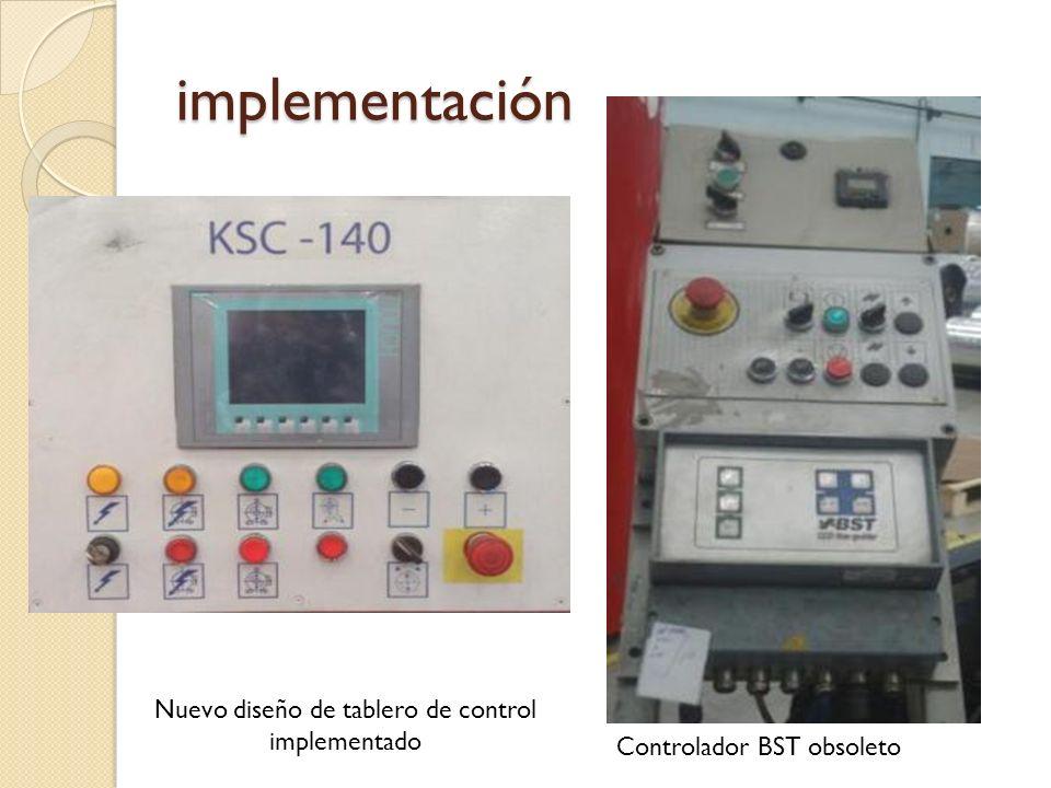 implementación Nuevo diseño de tablero de control implementado Controlador BST obsoleto