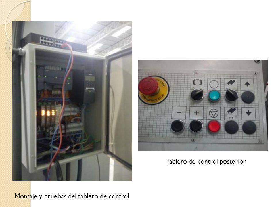 Montaje y pruebas del tablero de control Tablero de control posterior