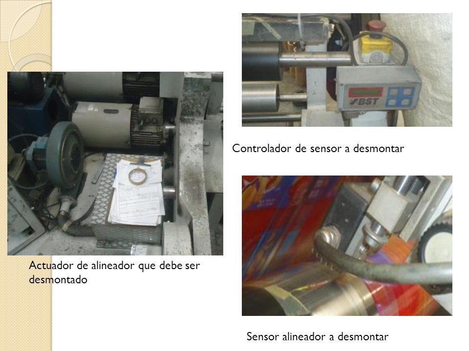 Actuador de alineador que debe ser desmontado Controlador de sensor a desmontar Sensor alineador a desmontar