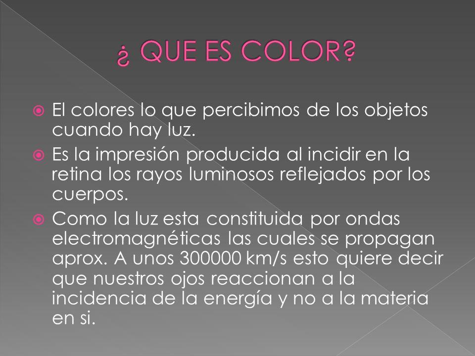 El colores lo que percibimos de los objetos cuando hay luz. Es la impresión producida al incidir en la retina los rayos luminosos reflejados por los c