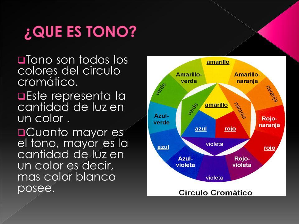 Tono son todos los colores del circulo cromático. Este representa la cantidad de luz en un color. Cuanto mayor es el tono, mayor es la cantidad de luz
