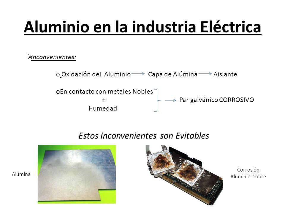 Aluminio en la industria Eléctrica Inconvenientes: o Oxidación del Aluminio Capa de Alúmina Aislante o En contacto con metales Nobles + Par galvánico