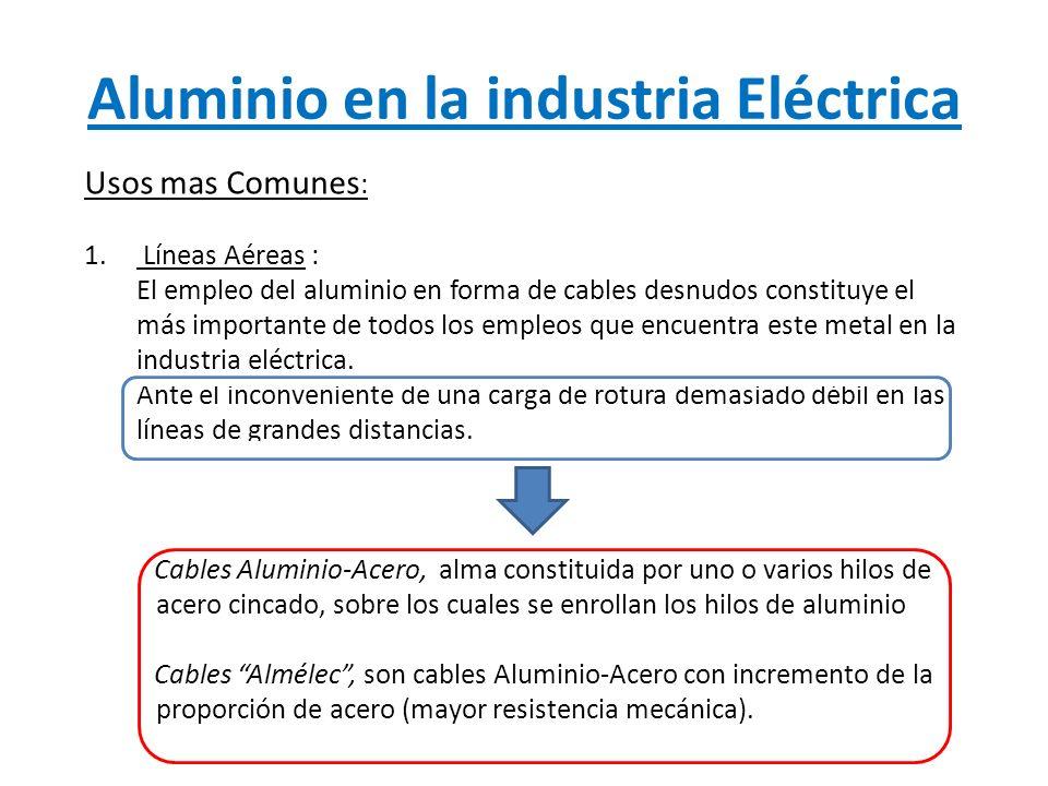Aluminio en la industria Eléctrica Usos mas Comunes : 1. Líneas Aéreas : El empleo del aluminio en forma de cables desnudos constituye el más importan