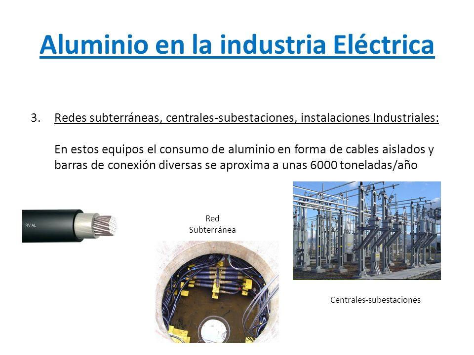 Aluminio en la industria Eléctrica 3.Redes subterráneas, centrales-subestaciones, instalaciones Industriales: En estos equipos el consumo de aluminio
