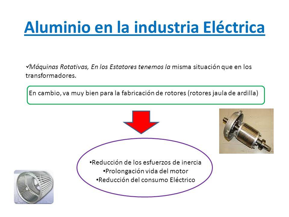 Aluminio en la industria Eléctrica Condensadores, Se utiliza el aluminio por su ligereza, excelente resistencia química (asegura la integridad del estado superficial) y su gran maleabilidad.