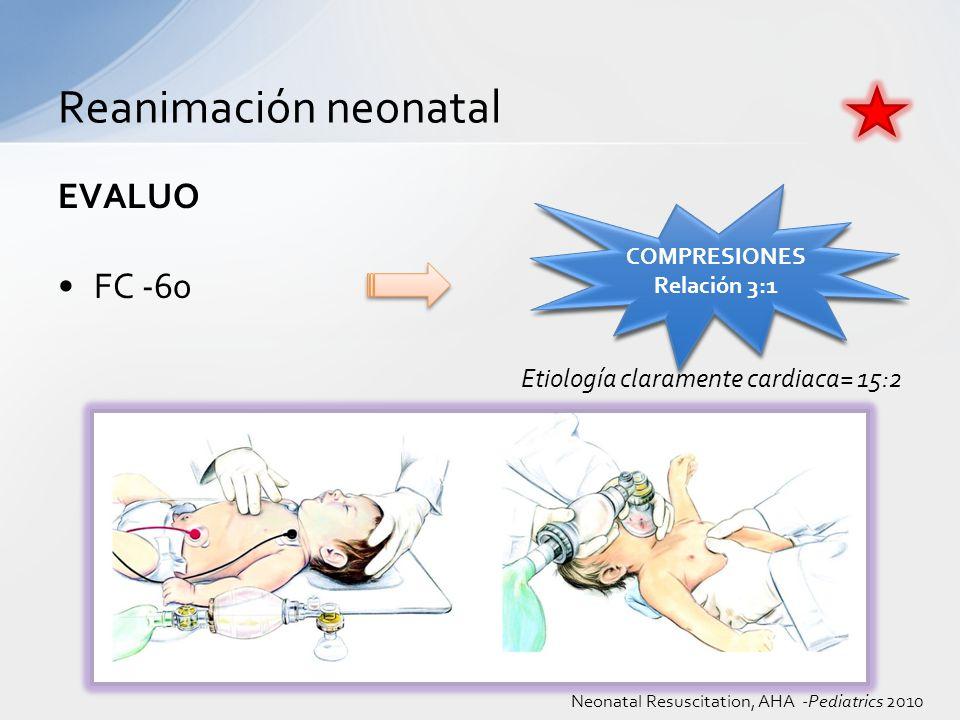 EVALUO FC -60 Etiología claramente cardiaca= 15:2 Reanimación neonatal COMPRESIONES Relación 3:1 COMPRESIONES Relación 3:1 Neonatal Resuscitation, AHA