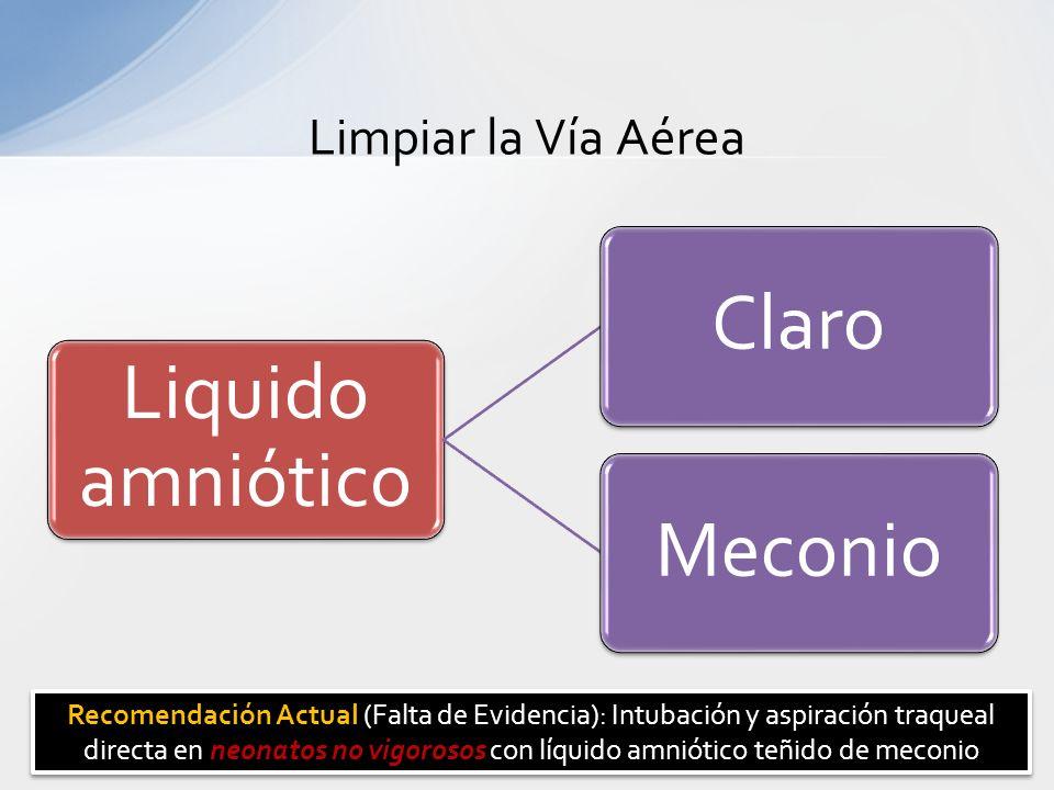 Limpiar la Vía Aérea Liquido amniótico ClaroMeconio Recomendación Actual neonatos no vigorosos Recomendación Actual (Falta de Evidencia): Intubación y