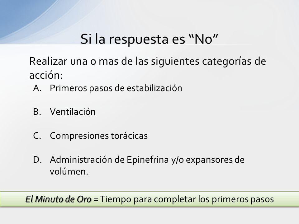 Realizar una o mas de las siguientes categorías de acción: A.Primeros pasos de estabilización B.Ventilación C.Compresiones torácicas D.Administración