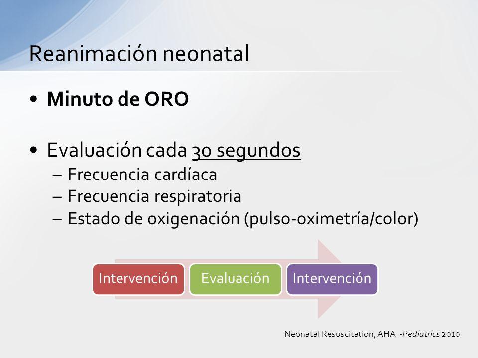 Minuto de ORO Evaluación cada 30 segundos –Frecuencia cardíaca –Frecuencia respiratoria –Estado de oxigenación (pulso-oximetría/color) Reanimación neo
