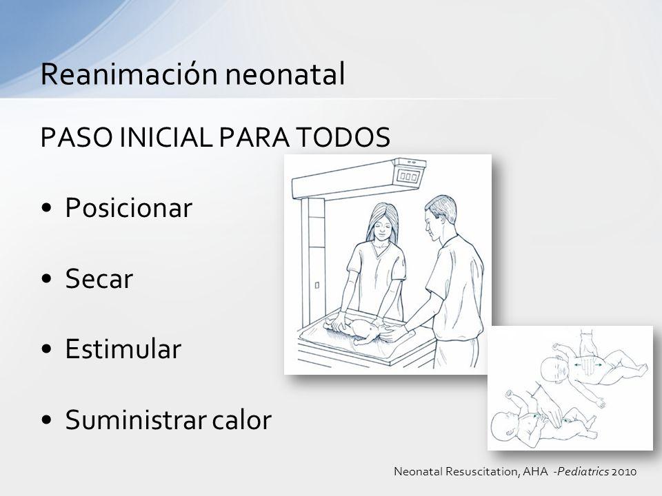EVALUO FC -100 Jadeo o apnea Reanimación neonatal VPP Neonatal Resuscitation, AHA -Pediatrics 2010