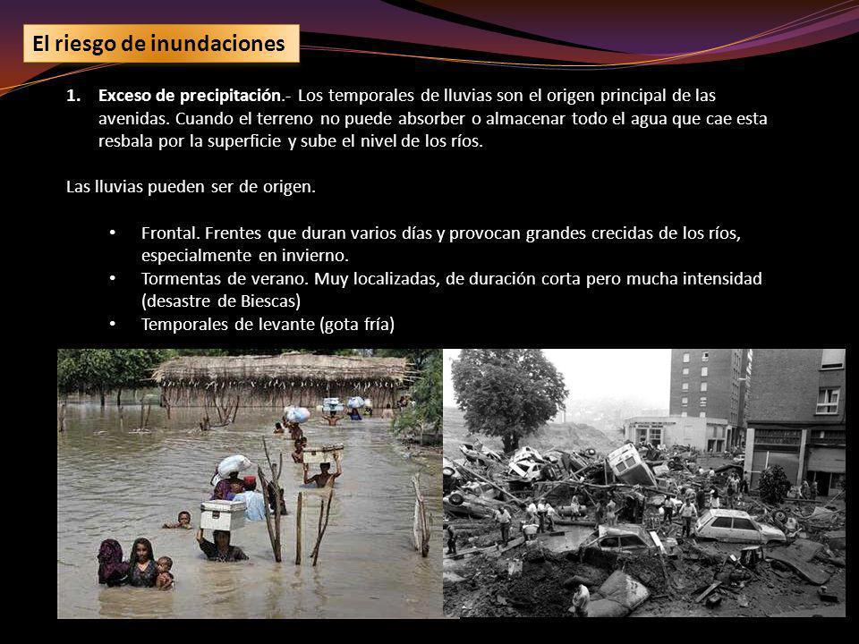 El riesgo de inundaciones 1.Exceso de precipitación.- Los temporales de lluvias son el origen principal de las avenidas. Cuando el terreno no puede ab