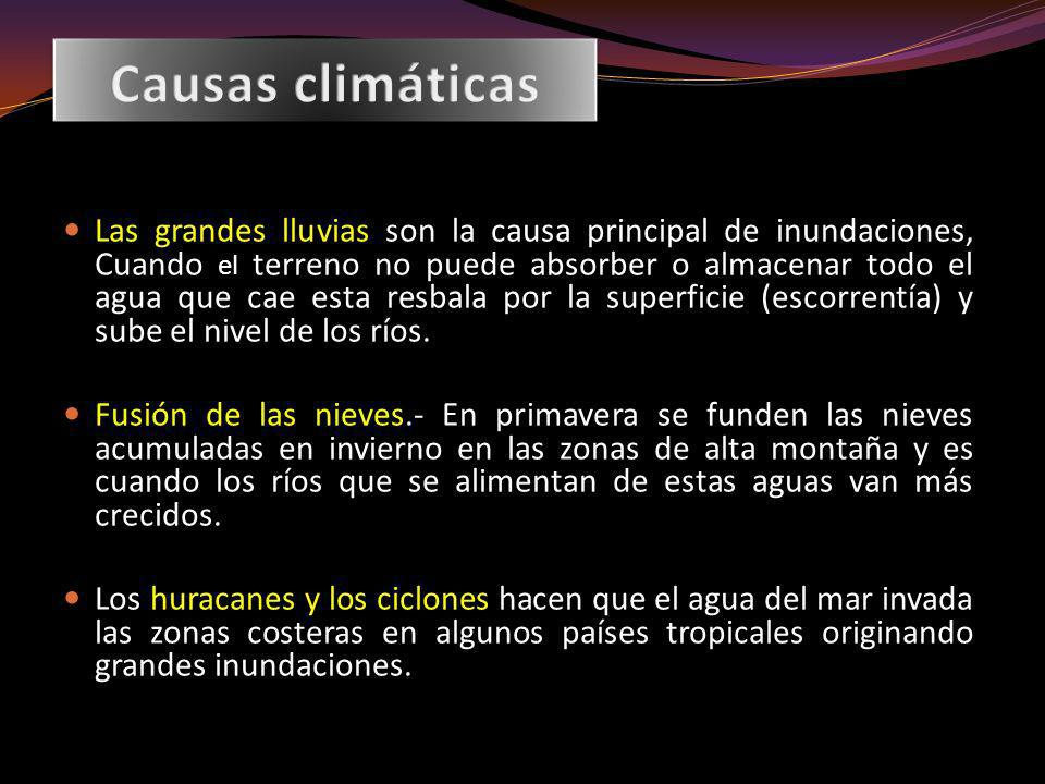 El riesgo de inundaciones 1.Exceso de precipitación.- Los temporales de lluvias son el origen principal de las avenidas.