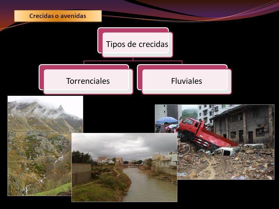 AVENIDAS TORRENCIALES Los torrentes son cauces secos excavados por el agua en zonas de mucha pendiente que desembocan en un canal principal, de fondo plano llamado rambla o torrentera.