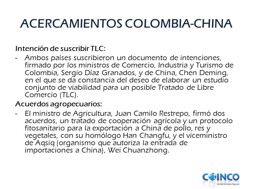 Intención de suscribir TLC: -Ambos países suscribieron un documento de intenciones, firmado por los ministros de Comercio, Industria y Turismo de Colo