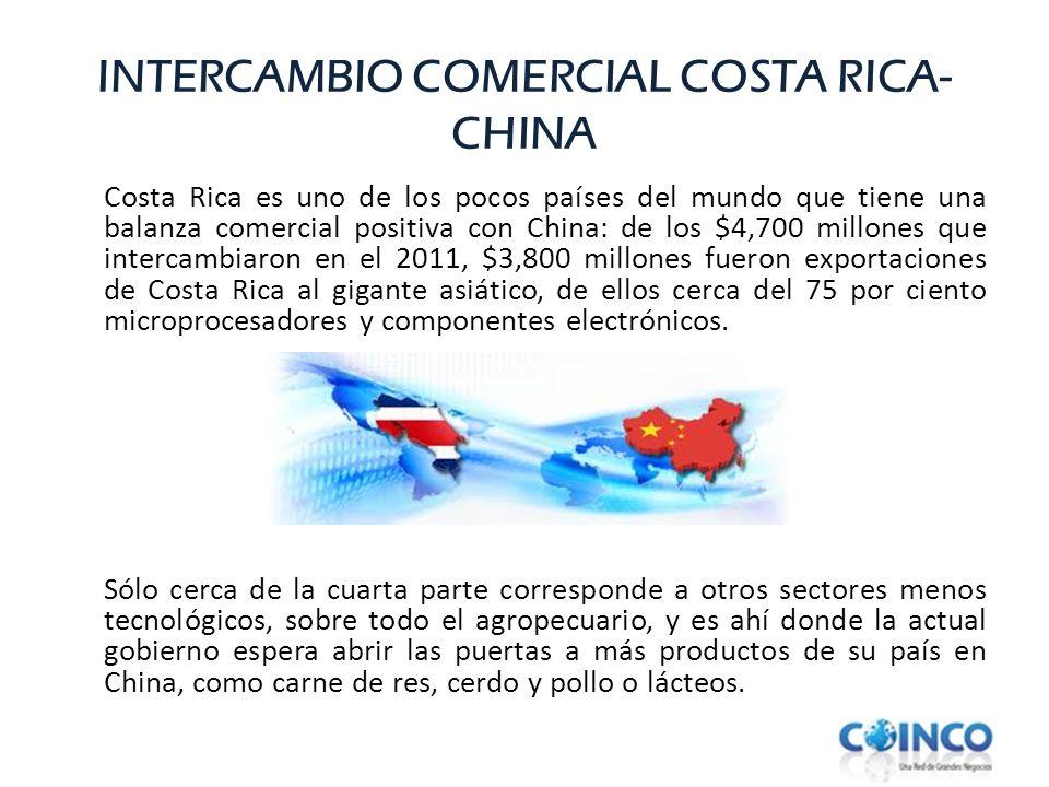 INTERCAMBIO COMERCIAL COSTA RICA- CHINA Costa Rica es uno de los pocos países del mundo que tiene una balanza comercial positiva con China: de los $4,