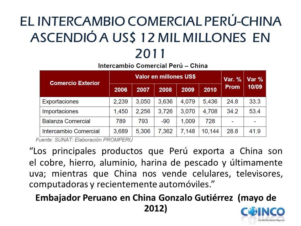 EL INTERCAMBIO COMERCIAL PERÚ-CHINA ASCENDIÓ A US$ 12 MIL MILLONES EN 2011 Los principales productos que Perú exporta a China son el cobre, hierro, al