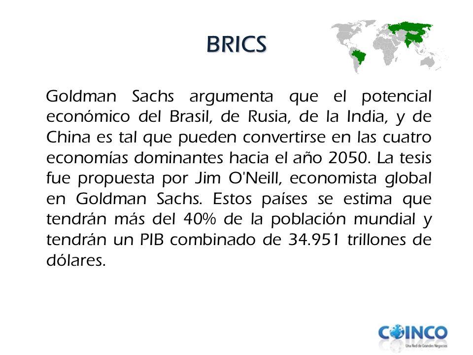 BRICS Goldman Sachs argumenta que el potencial económico del Brasil, de Rusia, de la India, y de China es tal que pueden convertirse en las cuatro eco